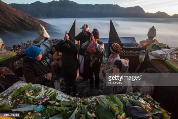 Tenggerese pray during the ceremony of Yadnya Kasada Festival at Mount Bromo Probolinggo East Java on 30th April 2018 The Yadnya Kasada is a festival...