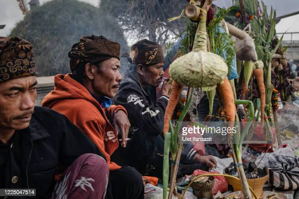 Tenggerese shaman gather at Poten temple during the Yadnya Kasada Festival at the crater of Mount Bromo amid the coronavirus pandemic on July 06,...