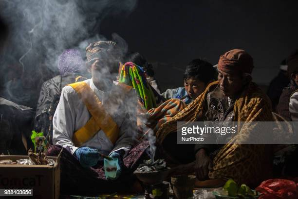 Tenggerese shaman prepare for the ceremony of Yadnya Kasada Festival at Mount Bromo Probolinggo East Java on 30th April 2018 The Yadnya Kasada is a...