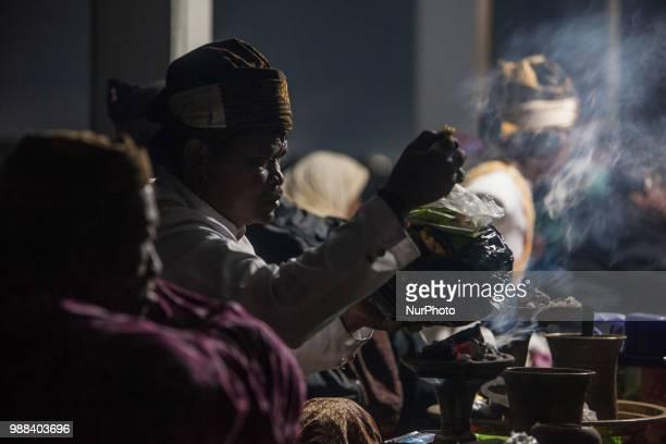Tenggerese shaman prepare for the ceremony of Yadnya Kasada Festival at Mount Bromo Probolinggo East Java on 30th April 2018 The Yadnya Kasada is a...