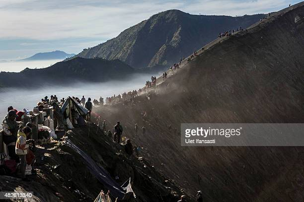 Tenggerese worshippers gather at the crater of Mount Bromo during the Yadnya Kasada Festival on August 01, 2015 in Probolinggo, East Java, Indonesia....