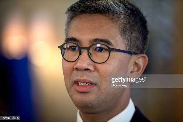 Tengku Zafrul Abdul Aziz chief executive officer of CIMB Group Holdings Bhd speaks during a Bloomberg Television interview during the Bloomberg Year...
