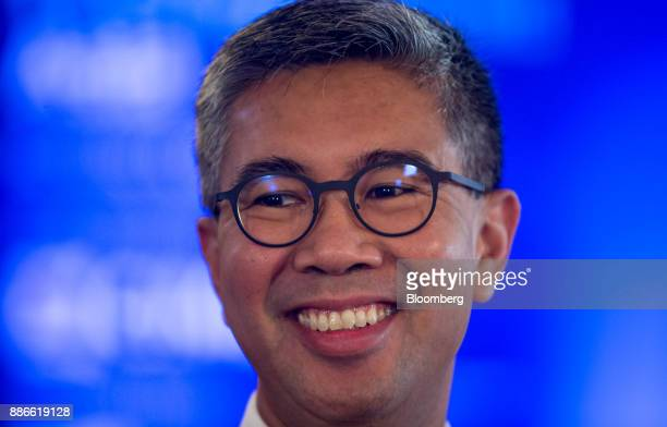Tengku Zafrul Abdul Aziz chief executive officer of CIMB Group Holdings Bhd smiles during a Bloomberg Television interview during the Bloomberg Year...
