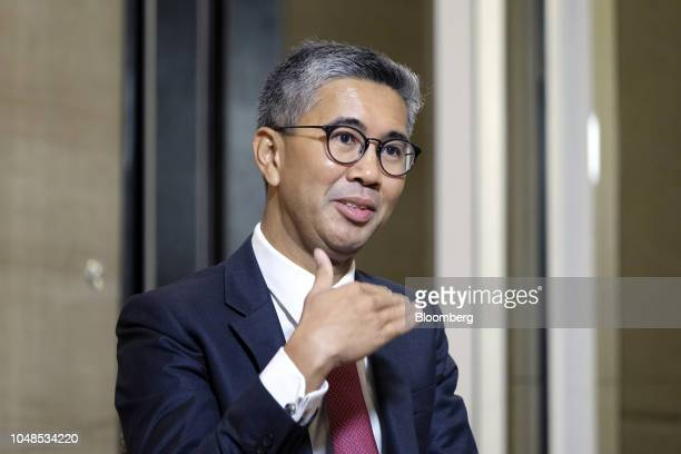 Tengku Zafrul Abdul Aziz chief executive officer of CIMB Group Holdings Bhd speaks during a Bloomberg Television interview at the New Dawn Investors'...