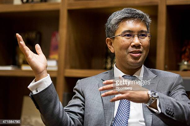 Tengku Zafrul Aziz chief executive officer of CIMB Group Holdings Bhd gestures as he speaks during an interview in Kuala Lumpur Malaysia on Wednesday...