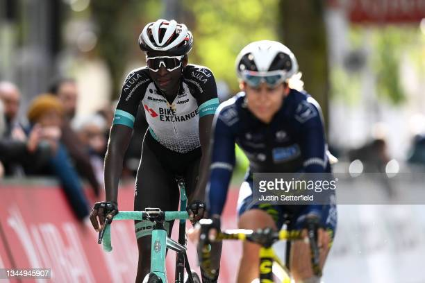 Teniel Campbell of Trinidad and Tobago and Team BikeExchange crosses the finishing line during the 7th The Women's Tour 2021 - Stage 2 a 102,2km...