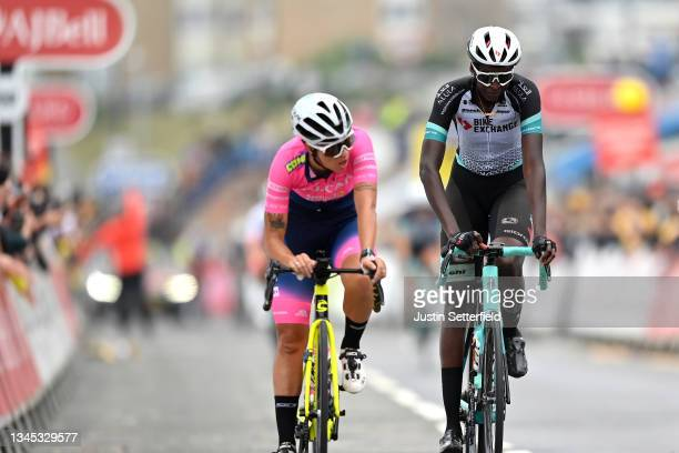 Teniel Campbell of Trinidad and Tobago and Team BikeExchange crosses the finishing line during the 7th The Women's Tour 2021 - Stage 4 a 117,8km...