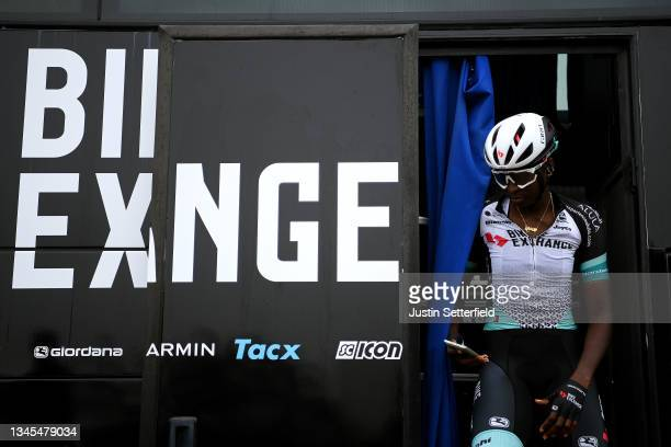 Teniel Campbell of Trinidad and Tobago and Team BikeExchange prior to the 7th The Women's Tour 202 - Stage 5 a 95,4km stage from Colchester to...