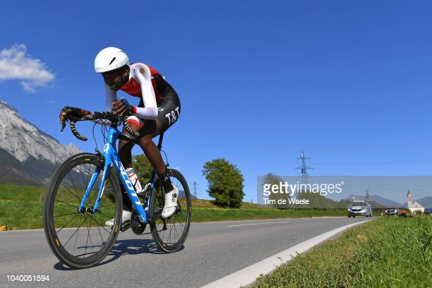 Teniel Campbell of Trinidad Tobago / Landscape / Mountains / during the Women Elite Individual Time Trial a 278km race from Wattens to Innsbruck 582m...