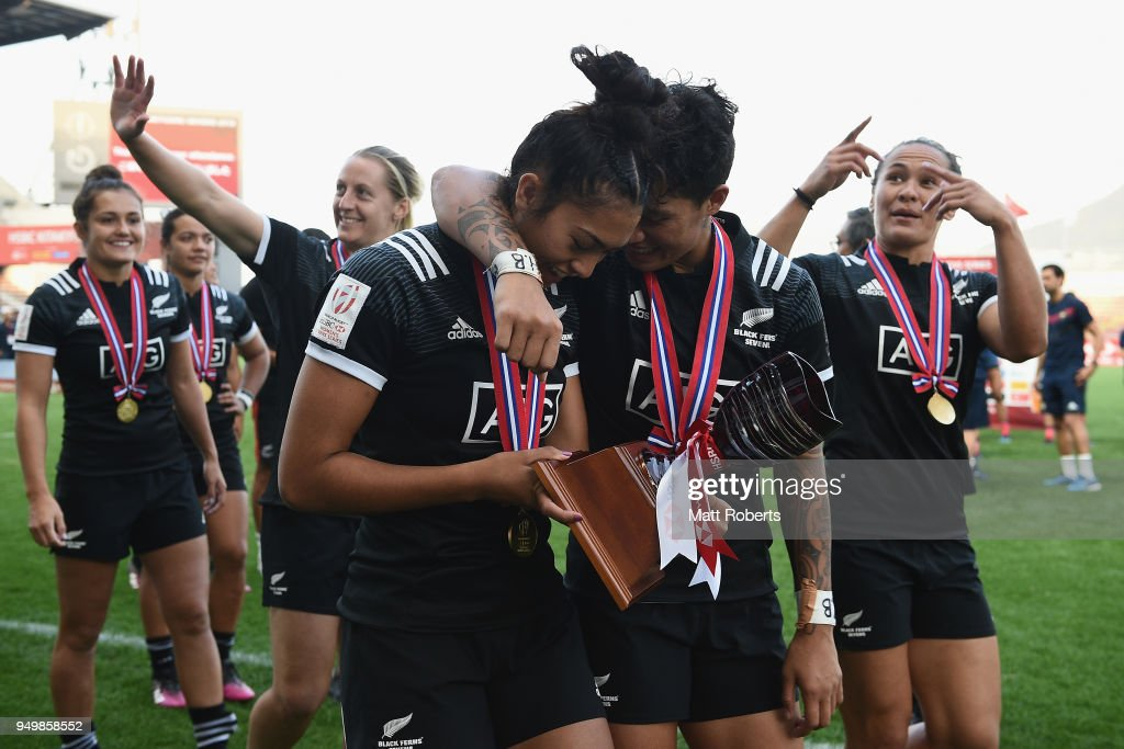 Tenika Willison and Gayle Broughton of New Zealand celebrate after winning the HSBC Women's Rugby Sevens Kitakyushu at Mikuni World Stadium Kitakyushu on April 22, 2018 in Kitakyushu, Fukuoka, Japan.