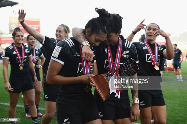 Tenika Willison and Gayle Broughton of New Zealand celebrate after winning the HSBC Women's Rugby Sevens Kitakyushu at Mikuni World Stadium...