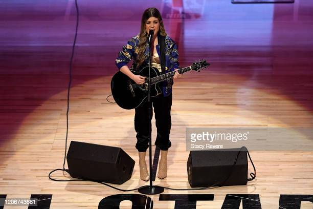 Tenille Arts performs the Canadian national anthem before the 69th NBA AllStar Game at the United Center on February 16 2020 in Chicago Illinois NOTE...