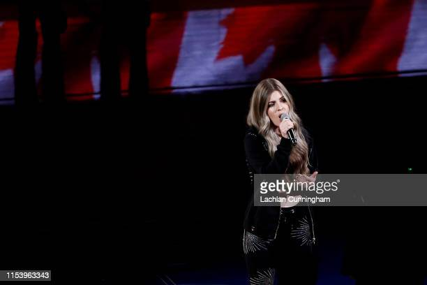 Tenille Arts performs the Canadian national anthem prior to Game Three of the 2019 NBA Finals between the Golden State Warriors and the Toronto...