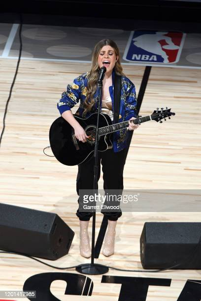 Tenille Arts preforms the Canadian National Anthem before the 69th NBA AllStar Game on February 16 2020 at the United Center in Chicago Illinois NOTE...