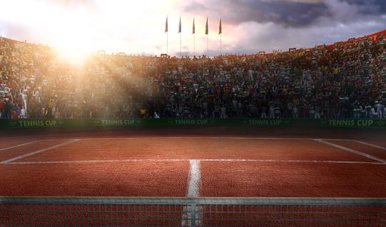 Tenis ground court grande arena 3d rendering 837309614