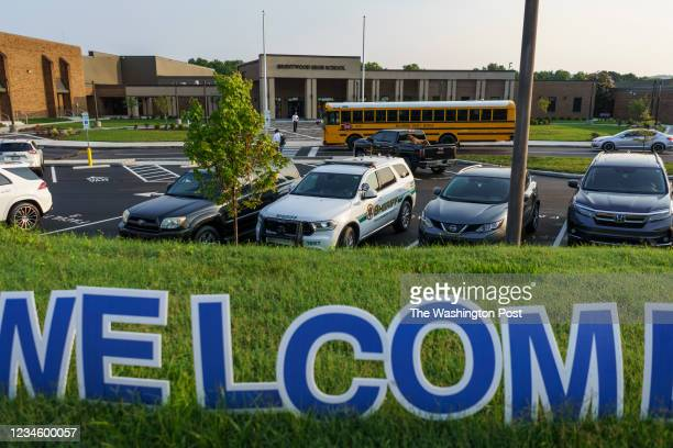 Tenn. - Aug. 9, 2021: Students make their way into Brentwood High School outside of Nashville as the new school year begins.