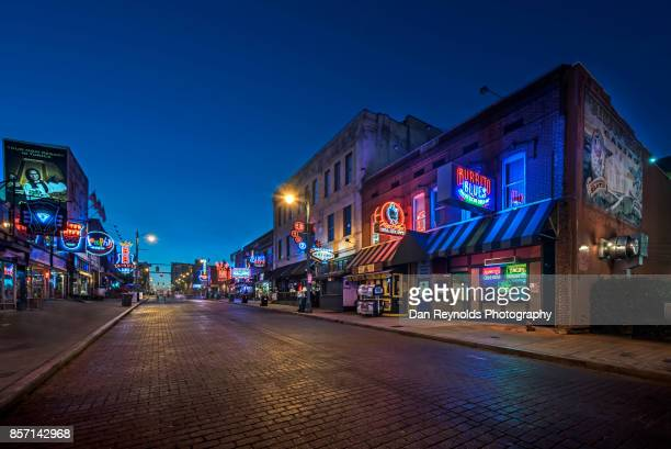 usa, tennessee, beale street at twilight - blues music stock pictures, royalty-free photos & images