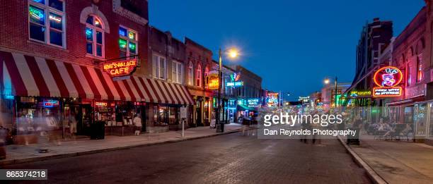 usa, tennessee, beale street at twilight-pano - memphis stock photos and pictures