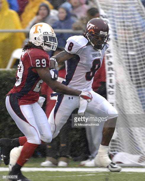 Tennessee defensive back Jonathan Wade covers Virginia Tech wide receiver David Clowney during the 2007 Under Armour Senior Bowl game at LaddPeebles...