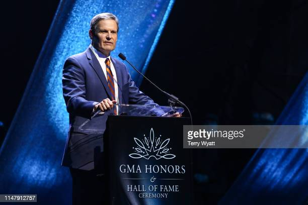 Tennessee Governor Bill Lee speaks during the 6th Annual GMA Honors and Hall of Fame Ceremony at Allen Arena, Lipscomb University on May 08, 2019 in...