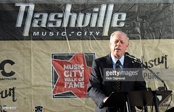 Tennessee Governor Phil Bredesen speaks about Singer Songwriter Dolly Parton during her induction into the Music City Walk of Fame At Hall of Fame...