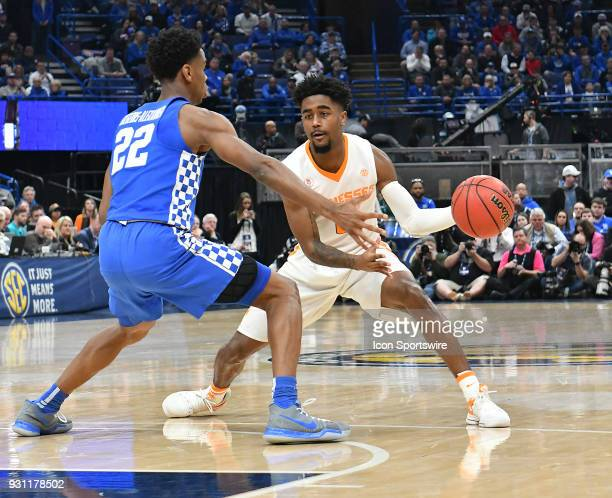 Tennessee guard Jordan Bone looks to get around Kentucky guard Shal GilgeousAlexander during a Southeastern Conference Basketball Tournament game...