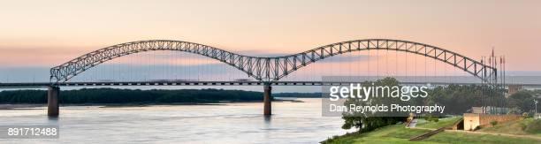 usa, tennessee, hernando de soto bridge, at twilight - memphis bridge stock photos and pictures