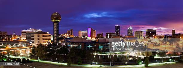 usa, tennessee, knoxville, skyline at dusk - knoxville tennessee stock pictures, royalty-free photos & images