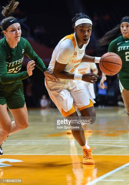 Tennessee Lady Vols guard Jordan Horston drives around Stetson Hatters forward Kendall Lentz during a college basketball game between the Tennessee...