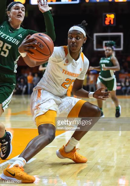 Tennessee Lady Vols guard Jordan Horston fakes Stetson Hatters forward Kendall Lentz during a college basketball game between the Tennessee Lady Vols...