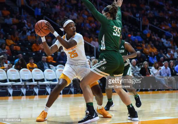 Tennessee Lady Vols guard Jordan Horston looks to pass around Stetson Hatters forward Kendall Lentz during a college basketball game between the...