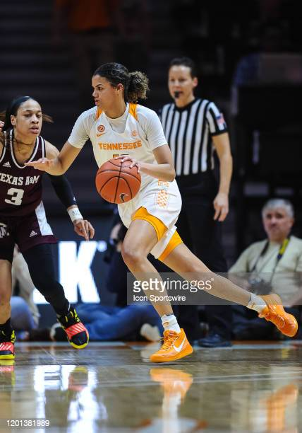 Tennessee Lady Vols guard Rae Burrell drives around Texas AM Aggies guard Chennedy Carter on February 16 at ThompsonBoling Arena in Knoxville TN