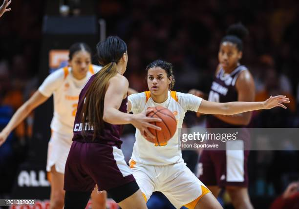 Tennessee Lady Vols guard Rae Burrell playing defense against Texas AM Aggies guard Chennedy Carter on February 16 at ThompsonBoling Arena in...