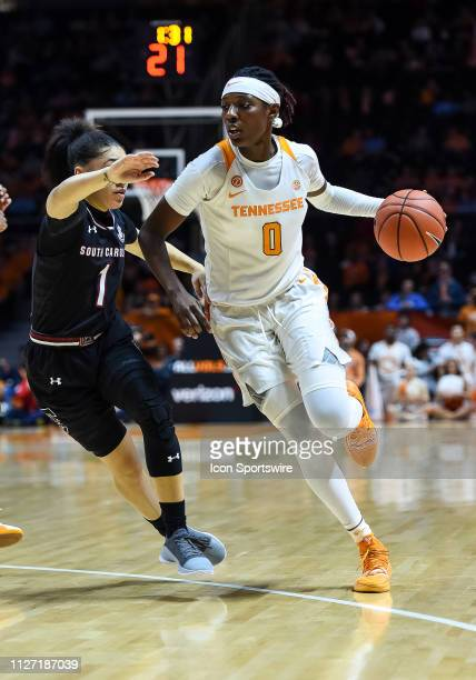 Tennessee Lady Vols guard Rennia Davis drives around South Carolina Gamecocks guard Bianca CuevasMoore during a college basketball game between the...