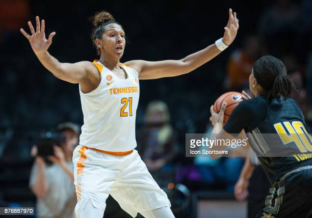 Tennessee Lady Volunteers center Mercedes Russell guarding Wichita State Shockers forward Angiee Tompkins during a game between the Wichita State...