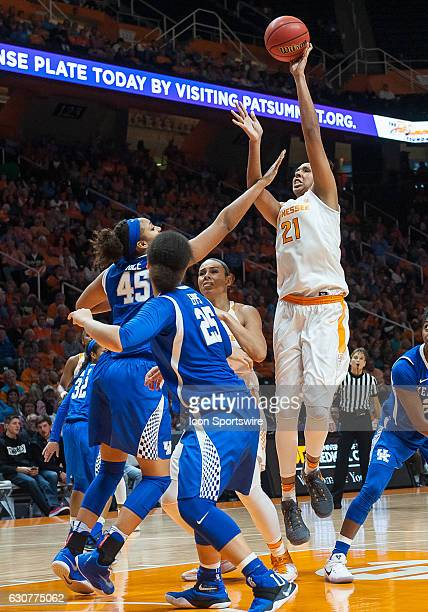 Tennessee Lady Volunteers center Mercedes Russell takes a jump shot over Kentucky Wildcats center Alyssa Rice during a game between the Tennessee...