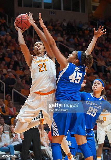 Tennessee Lady Volunteers center Mercedes Russell takes a shot over Kentucky Wildcats center Alyssa Rice during a game between the Tennessee Lady...