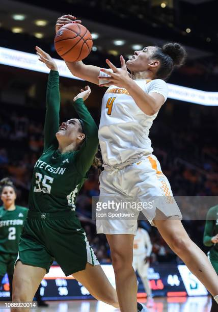 Tennessee Lady Volunteers forward Mimi Collins grabs a rebound over Stetson Hatters forward Kendall Lentz during a college basketball game between...