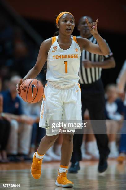 Tennessee Lady Volunteers guard Anastasia Hayes brings the ball up court during a game between the CarsonNewman Eagles and Tennessee Lady Volunteers...