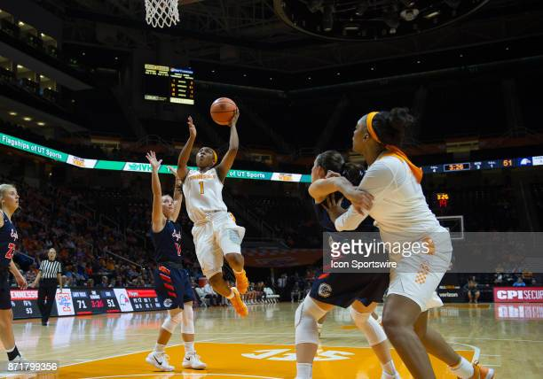 Tennessee Lady Volunteers guard Anastasia Hayes drives to the basket past CarsonNewman guard Haris Price during a game between the CarsonNewman...