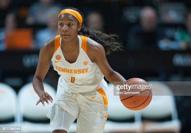 Tennessee Lady Volunteers guard Anastasia Hayes pushes the ball up the court during a game between the CarsonNewman Eagles and Tennessee Lady...