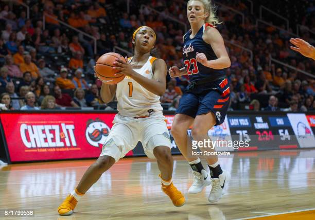 Tennessee Lady Volunteers guard Anastasia Hayes sets up to take a shot during a game between the CarsonNewman Eagles and Tennessee Lady Volunteers on...