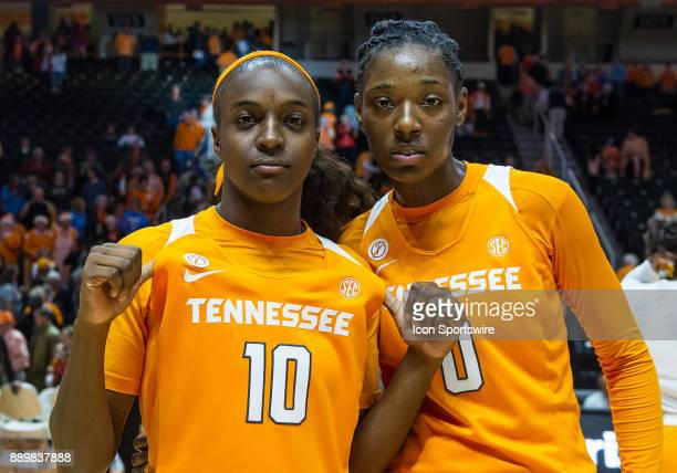 Tennessee Lady Volunteers guard Meme Jackson and guard/forward Rennia Davis celebrate after a game between the Texas Longhorns and Tennessee Lady...