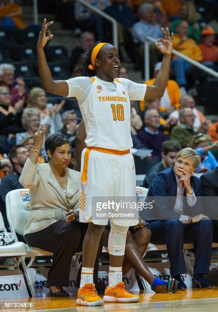 Tennessee Lady Volunteers guard Meme Jackson celebrates a 3 point shot during a game between the Troy Trojans and Tennessee Lady Volunteers on...