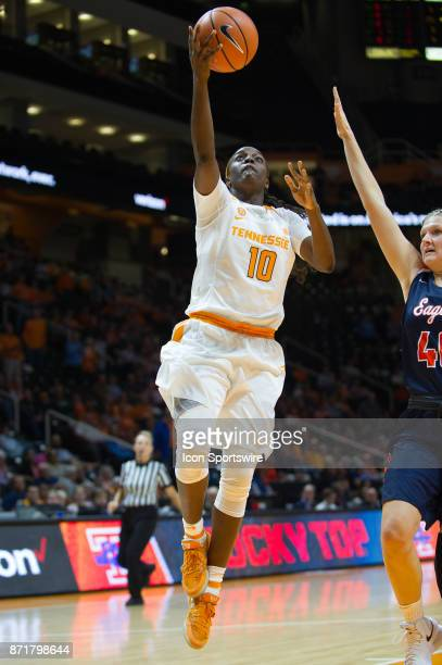 Tennessee Lady Volunteers guard Meme Jackson drives to the basket around CarsonNewman forward/center Jecca Simerly during a game between the...