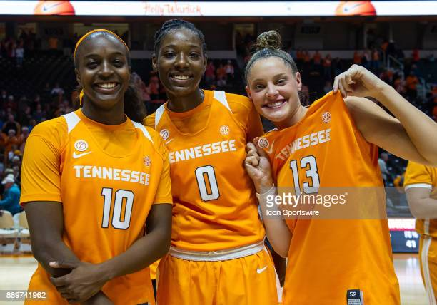Tennessee Lady Volunteers guard Meme Jackson guard/forward Rennia Davis and forward Kortney Dunbar after a game between the Texas Longhorns and...
