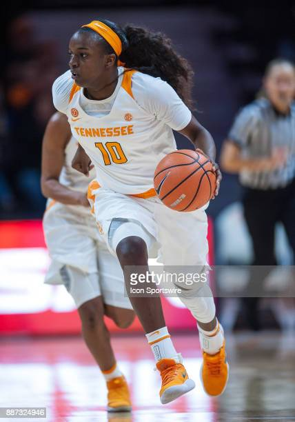 Tennessee Lady Volunteers guard Meme Jackson pushes the ball up the court during a game between the Troy Trojans and Tennessee Lady Volunteers on...