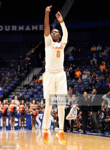 Tennessee Lady Volunteers guard/forward Rennia Davis shoots and makes a three point basket with 05 left on the clock to give Tennessee Lady...