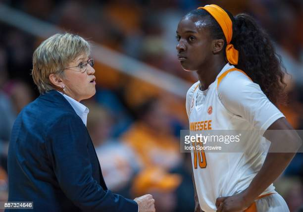 Tennessee Lady Volunteers head coach Holly Warlick talks to guard Meme Jackson during a game between the Troy Trojans and Tennessee Lady Volunteers...