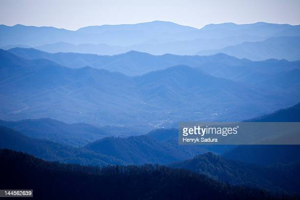 usa, tennessee, nashville, great smoky mountains national park, mountain range in fog - parque nacional das great smoky mountains - fotografias e filmes do acervo